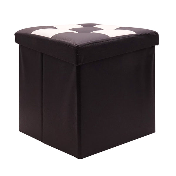 "Ottoman With Storage Folding Foot Rest Stools Small Storage Ottoman Cube Versatile Space-Saving Storage Toy Box Chest Faux Leather Chess Black White 15""x15""x15"""