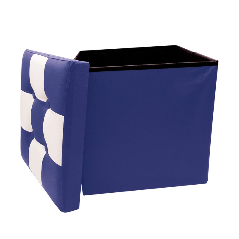 "Ottoman With Storage Folding Foot Rest Stools Small Storage Ottoman Cube Versatile Space-Saving Storage Toy Box Chest Faux Leather Chess Blue White 15""x15""x15"""