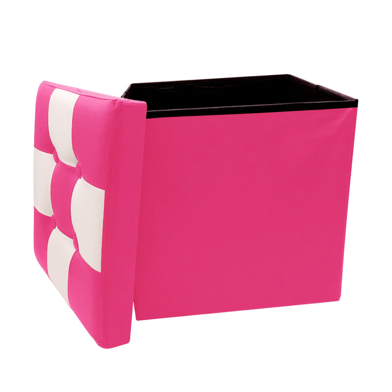 "Ottoman With Storage Folding Foot Rest Stools Small Storage Ottoman Cube Versatile Space-Saving Storage Toy Box Chest Faux Leather Chess Pink White 15""x15""x15"""