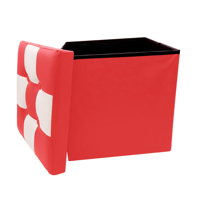 "Ottoman With Storage Folding Foot Rest Stools Small Storage Ottoman Cube Versatile Space-Saving Storage Toy Box Chest Faux Leather Chess Red White 15""x15""x15"""