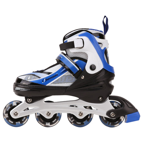 Kids Inline Adjustable Skates 6 PCS Beginer Set Safe Protective Pack Durable Outdoor Light Up All Wheels