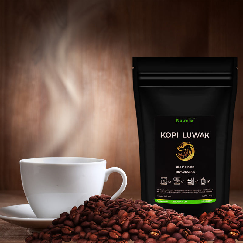 Kopi Luwak 100% Arabica Indonesian Wild Civet Coffee Premium Medium Roast Coffee Whole Beans with Chocolate & Caramel Flavour 3.5oz/100 grams