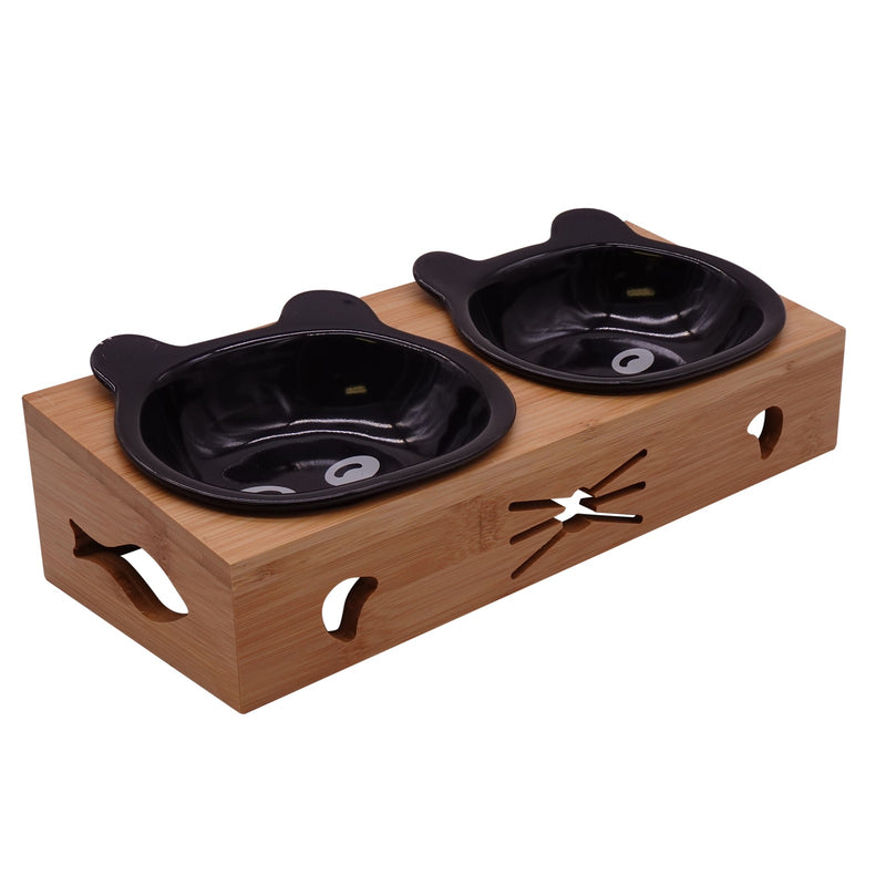 Raised Cat Food Bowls Pet Elevated Water Feeder Ceramic Bowls No Spill Double Cat Dish Kitten Puppies Small Dog Feeding Station Wood Food Holder Set 2 in 1 Black