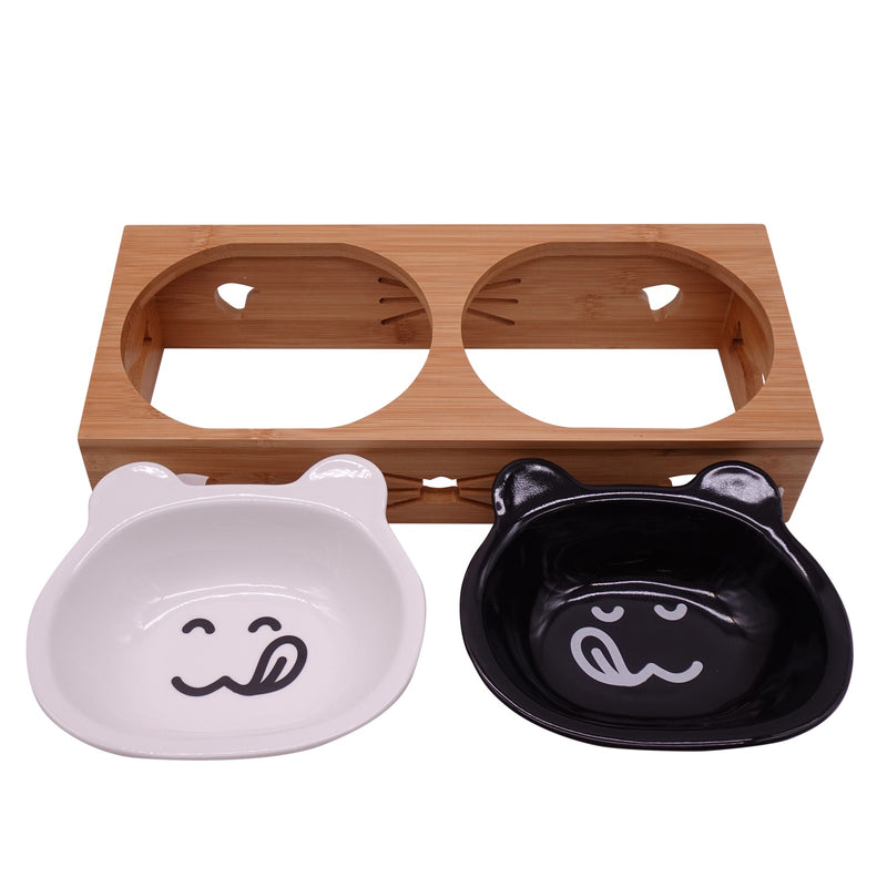 Raised Cat Food Bowls Pet Elevated Water Feeder Ceramic Bowls No Spill Double Cat Dish Kitten Puppies Small Dog Feeding Station Wood Food Holder Set 2 in 1 White/Black