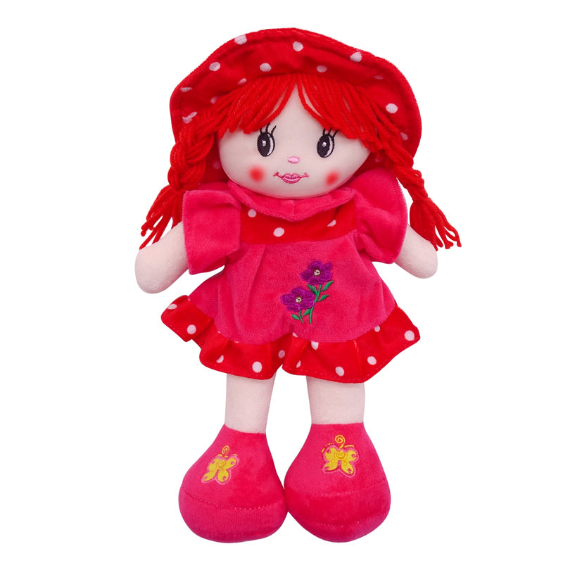 "Plush Rag Doll 14"" Red Flower Dress Braids Red Hat Ragged Bedtime Companion Stuffed Baby Dolls for Girls Toddler 3+ Age"