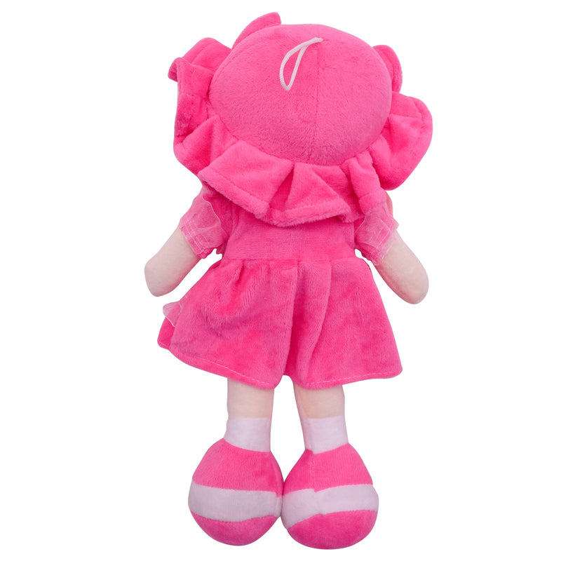 "Plush Rag Doll 14"" Hot Pink Dress Bow Pink Braids Ragged Bedtime Companion Stuffed Baby Dolls for Girls Toddler 3+ Age"