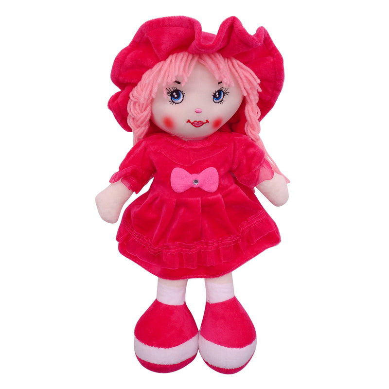 "Plush Rag Doll 14"" Rose Dress Bow Pink Braids Ragged Bedtime Companion Stuffed Baby Dolls for Girls Toddler 3+ Age"