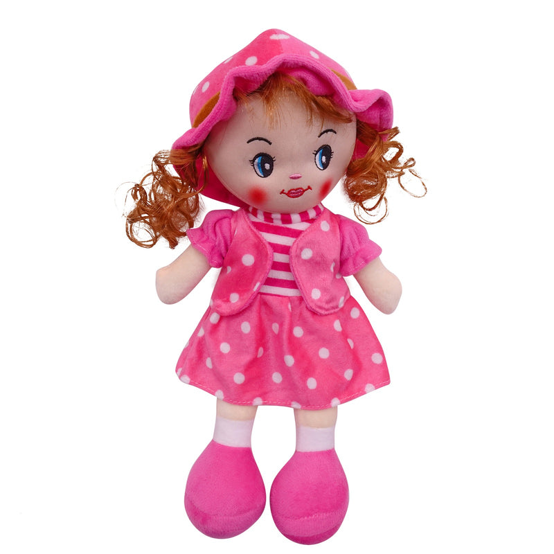 "Plush Rag Doll 14"" Pink Polka Suit Blond Curly Hair Ragged Stuffed Baby Dolls for Girls Toddler 3+ Age"