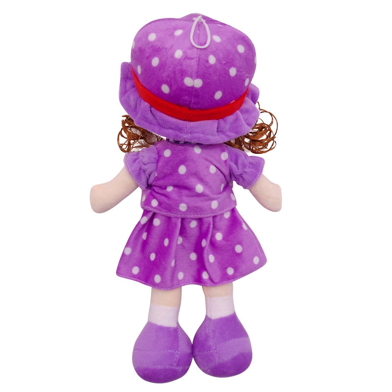 "Plush Rag Doll 14"" Purple Polka Suit Blond Curly Hair Ragged Stuffed Baby Dolls for Girls Toddler 3+ Age"