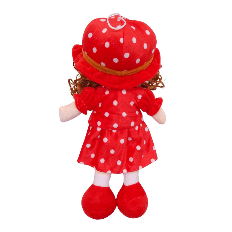 "Plush Rag Doll 14"" Red Polka Suit Blond Curly Hair Ragged Stuffed Baby Dolls for Girls Toddler 3+ Age"