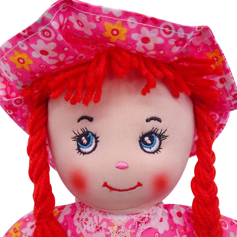 "Plush Rag Doll 14"" Red Flowers Dress Braids Red Hat Ragged Bedtime Companion Stuffed Baby Dolls for Girls Toddler 3+ Age"