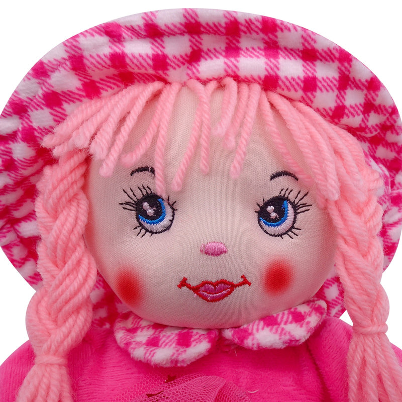 "Plush Rag Doll 14"" Pink Checkered Dress Braids Pink Hat Ragged Bedtime Companion Stuffed Baby Dolls for Girls Toddler 3+ Age"