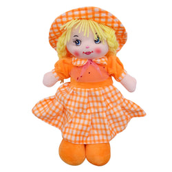 "Plush Rag Doll 14"" Yellow Checkered Dress Braids Yellow Hat Ragged Bedtime Companion Stuffed Baby Dolls for Girls Toddler 3+ Age"