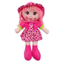 "Plush Rag Doll 14"" Pink Polka Dress Tie Braids Pink Hat Ragged Bedtime Companion Stuffed Baby Dolls for Girls Toddler 3+ Age"