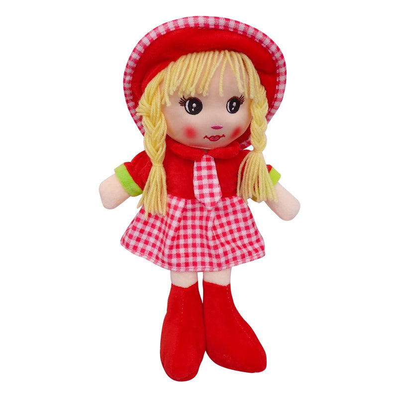 "Plush Rag Doll 14"" Red Checkered Dress Tie Braids Red Hat Ragged Bedtime Companion Stuffed Baby Dolls for Girls Toddler 3+ Age"