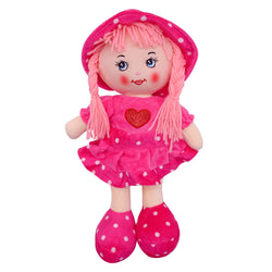 "Plush Rag Doll 14"" Hot Pink Ruffles Dress Heart Blond Curly Hair Raggedy Bedtime Companion Stuffed Baby Dolls for Girls Toddler 3+ Age"