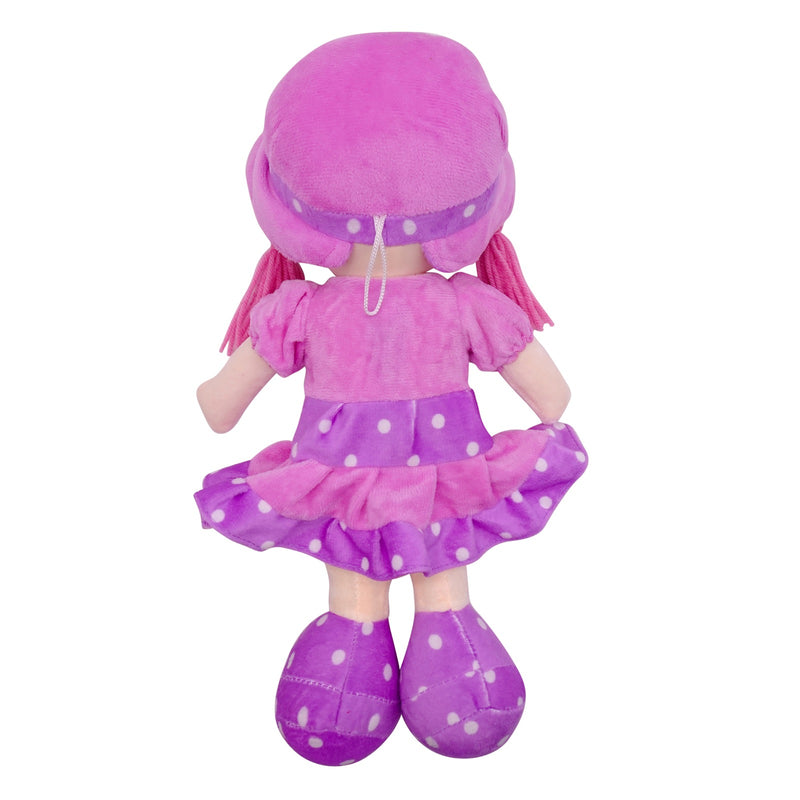 "Plush Rag Doll 14"" Purple Ruffles Dress Heart Blond Curly Hair Raggedy Bedtime Companion Stuffed Baby Dolls for Girls Toddler 3+ Age"