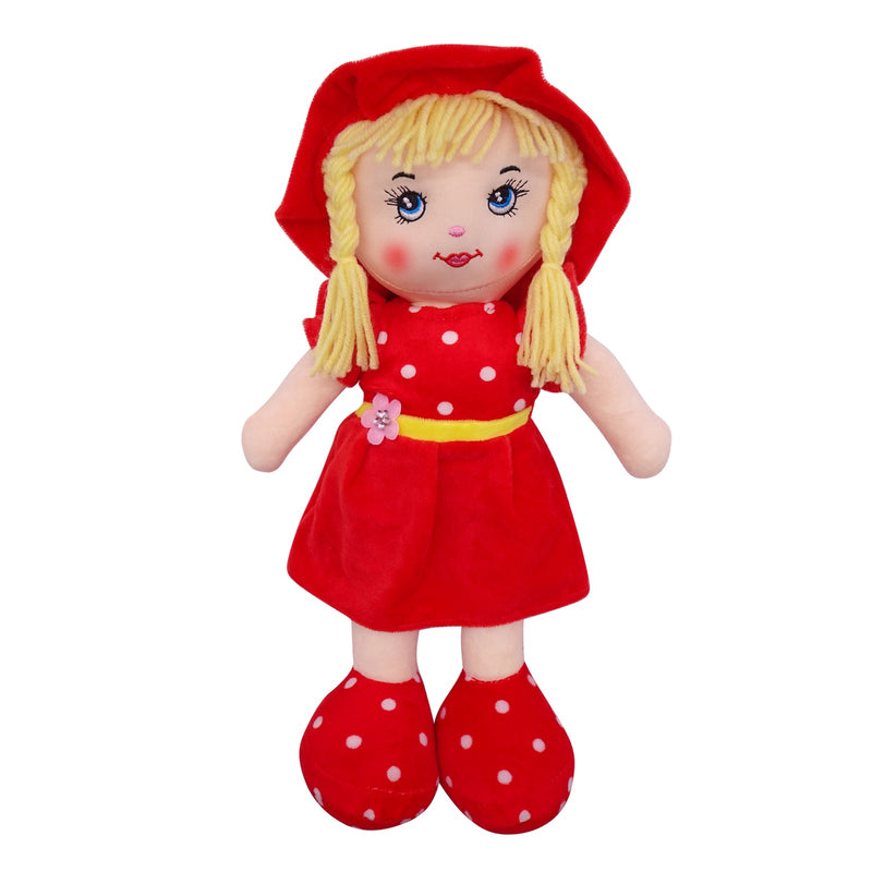"Plush Rag Doll 14"" Red Dress Flower Belt Blond Curly Hair Raggedy Bedtime Companion Stuffed Baby Dolls for Girls Toddler 3+ Age"