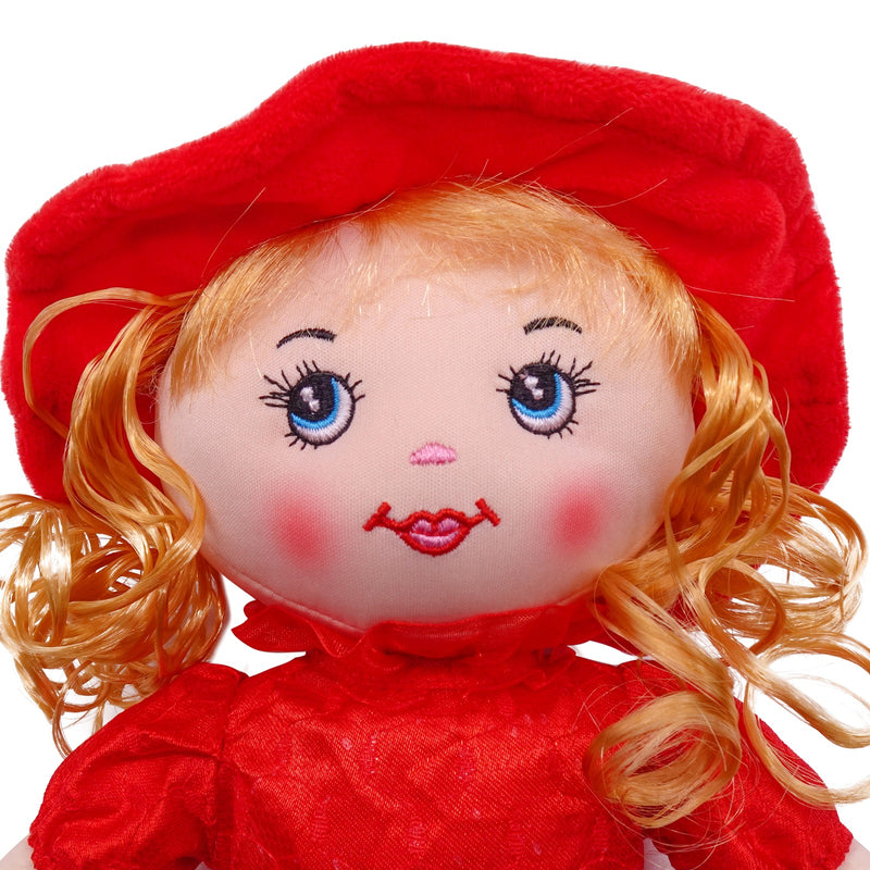 "Plush Rag Doll 14"" Red Polka Dress Blond Curly Hair Raggedy Bedtime Companion Stuffed Baby Dolls for Girls Toddler 3+ Age"