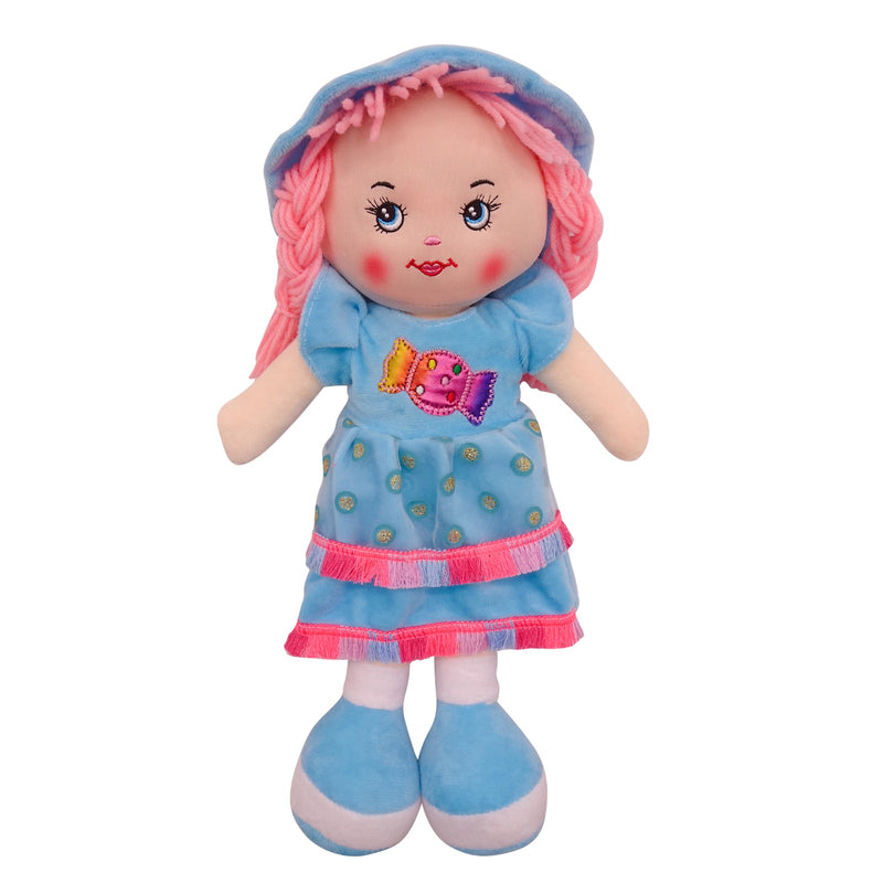 "Plush Rag Doll 14"" Blue Candy Dress Blond Curly Hair Ragged Bedtime Companion Stuffed Baby Dolls for Girls Toddler 3+ Age"