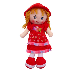 "Plush Rag Doll 14"" Red Candy Dress Blond Curly Hair Ragged Bedtime Companion Stuffed Baby Dolls for Girls Toddler 3+ Age"