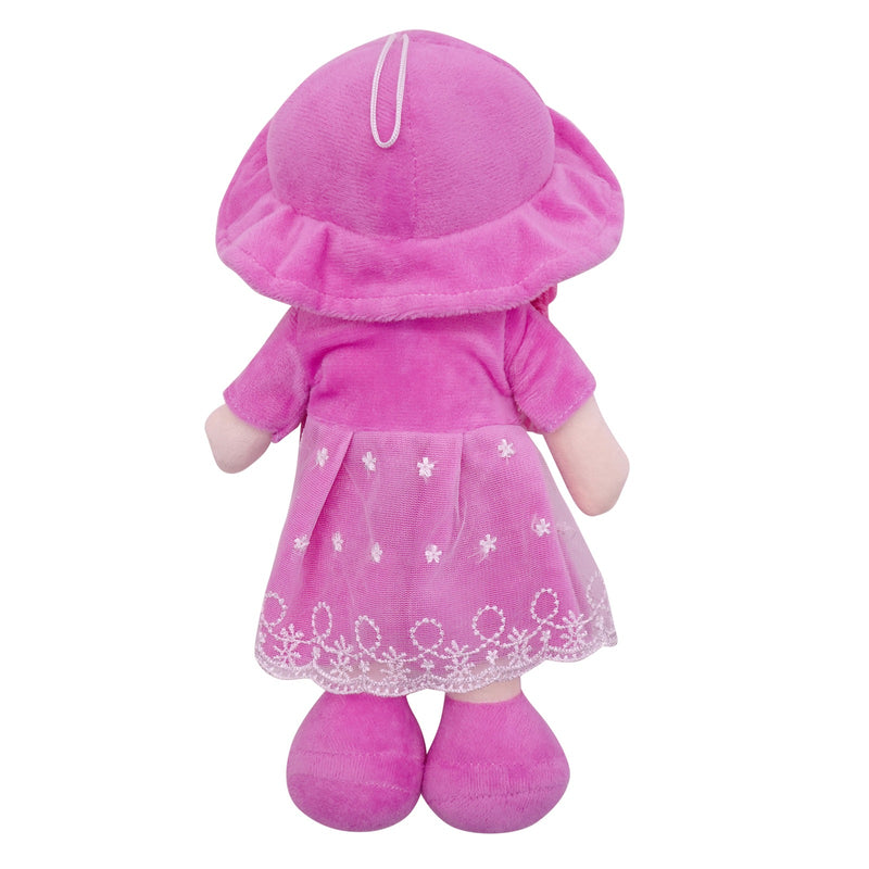 "Plush Rag Doll 14"" Purple Dress Mesh Apron Braids Purple Hat Ragged Bedtime Companion Stuffed Baby Dolls for Girls Toddler 3+ Age"