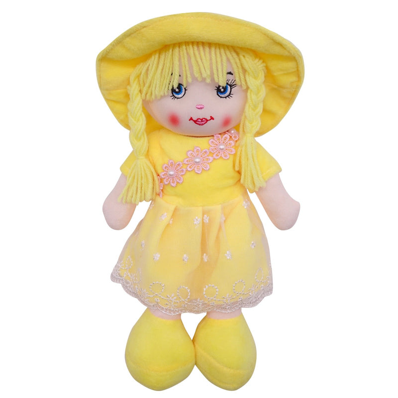 "Plush Rag Doll 14"" Yellow Dress Mesh Apron Braids Yellow Hat Ragged Bedtime Companion Stuffed Baby Dolls for Girls Toddler 3+ Age"
