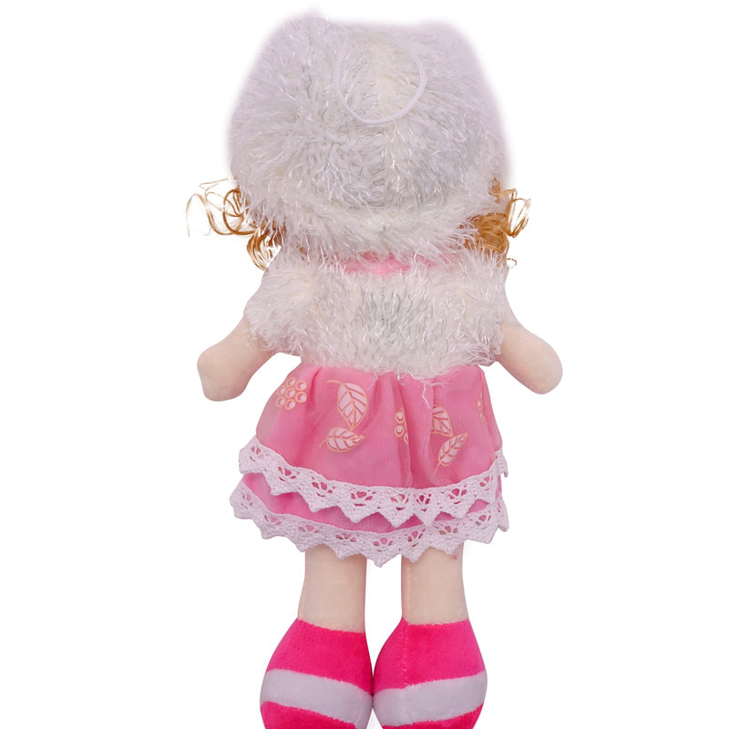 "Plush Rag Doll 14"" Pink Polka Skirt Soft Sweater Blond Curly Hair Raggedy Bedtime Companion Stuffed Baby Dolls for Girls Toddler 3+ Age"