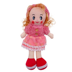 "Plush Rag Doll 14"" Red Polka Skirt Soft Sweater Blond Curly Hair Raggedy Bedtime Companion Stuffed Baby Dolls for Girls Toddler 3+ Age"