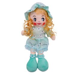 "Plush Rag Doll 14"" Mint Flowers Dress Blond Curly Hair Raggedy Bedtime Companion Stuffed Baby Dolls for Girls Toddler 3+ Age"