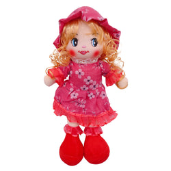 "Plush Rag Doll 14"" Red Flowers Dress Blond Curly Hair Raggedy Bedtime Companion Stuffed Baby Dolls for Girls Toddler 3+ Age"