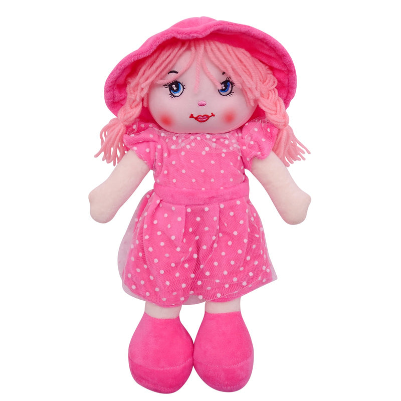 "Plush Rag Doll 14"" Pink Polka Dress Braids Pink Hat Ragged Bedtime Companion Stuffed Baby Dolls for Girls Toddler 3+ Age"