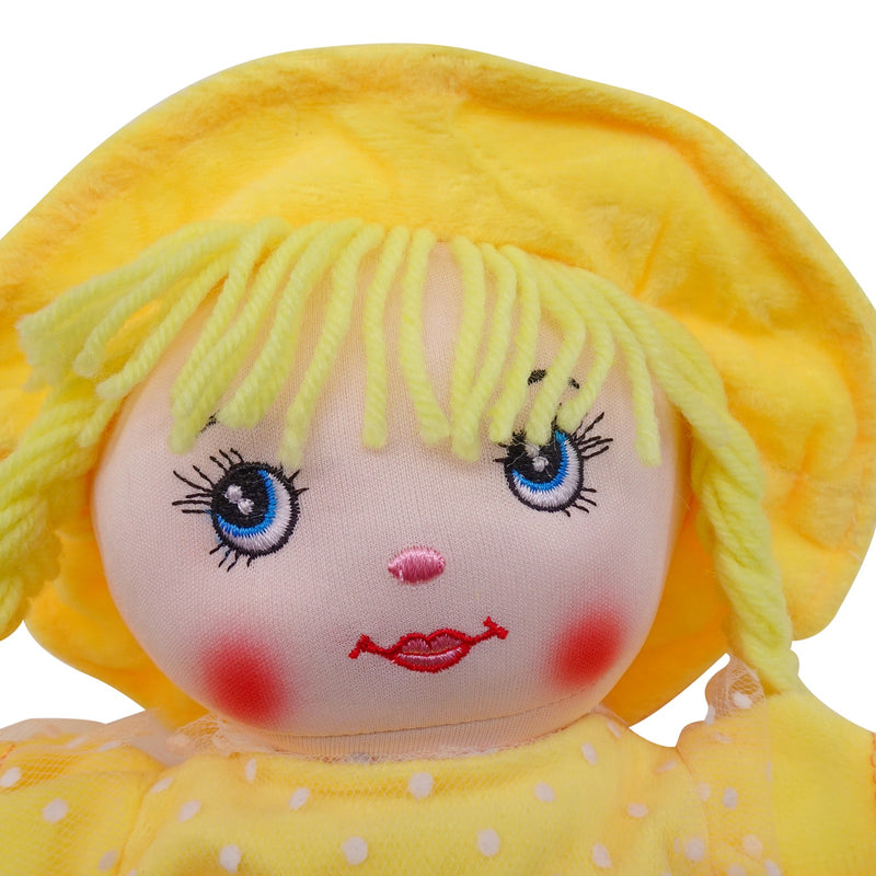 "Plush Rag Doll 14"" Yellow Polka Dress Braids Yellow Hat Ragged Bedtime Companion Stuffed Baby Dolls for Girls Toddler 3+ Age"