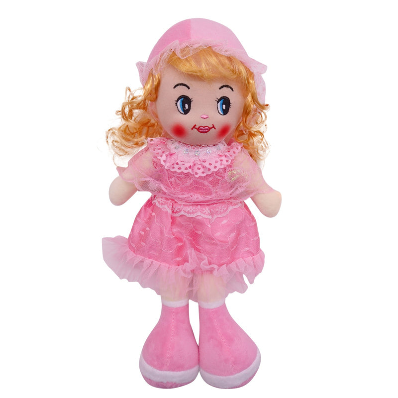 "Plush Rag Doll 14"" Pink Polka Ruffles Dress Blond Curly Hair Ragged Stuffed Baby Dolls for Girls Toddler 3+ Age"