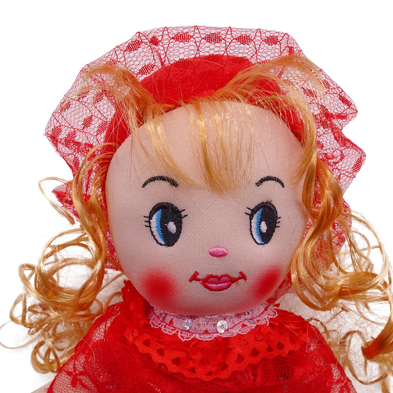 "Plush Rag Doll 14"" Red Polka Ruffles Dress Blond Curly Hair Ragged Stuffed Baby Dolls for Girls Toddler 3+ Age"