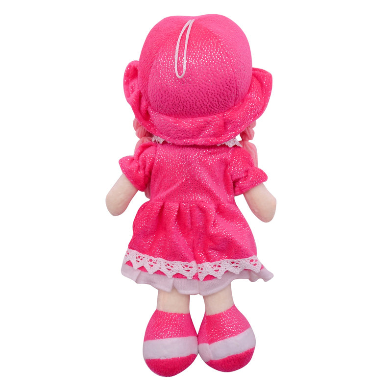 "Plush Rag Doll 14"" Hot Pink Dress Pockets Braids Hot Pink Hat Ragged Stuffed Baby Dolls for Girls Toddler 3+ Age"