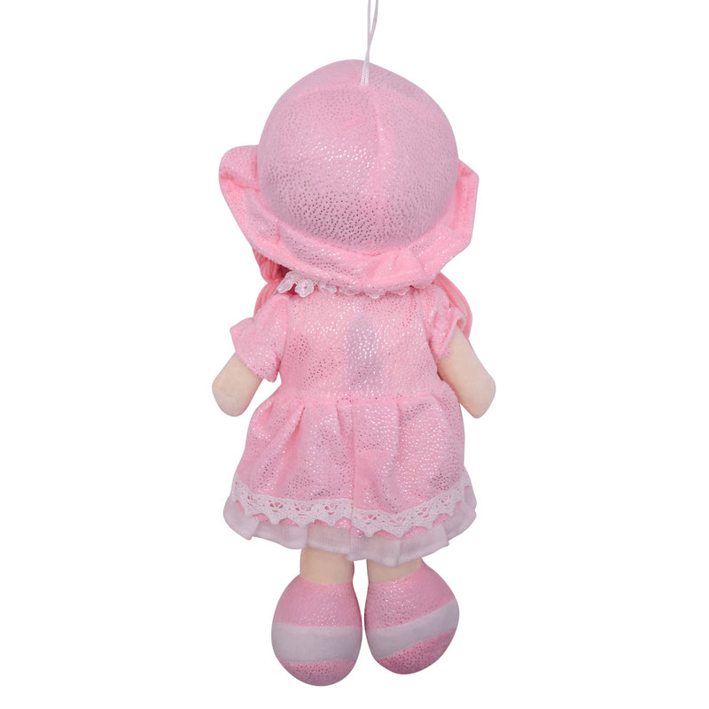 "Plush Rag Doll 14"" Pink Dress Pockets Braids Pink Hat Ragged Stuffed Baby Dolls for Girls Toddler 3+ Age"