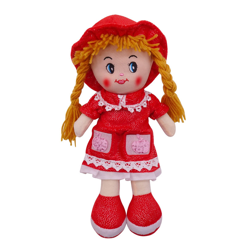 "Plush Rag Doll 14"" Red Dress Pockets Braids Red Hat Ragged Stuffed Baby Dolls for Girls Toddler 3+ Age"