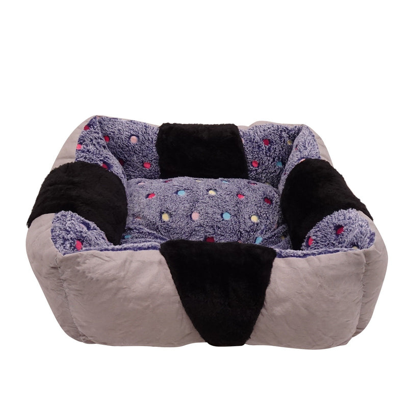Square Sleeping Dog Bed Warming Washable Soft Skin Contact Safe Memory Foam Reversible