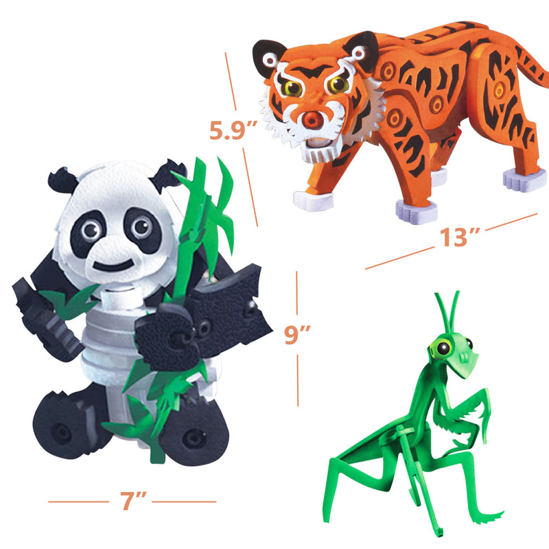 3D Kids Animal Series DIY Puzzles EVA Foam Panda Tiger Mantis Building Educational Toys
