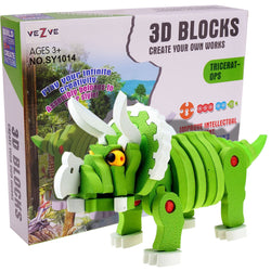 Children 3D Dinosaur Puzzles Toy EVA Tricetops Model Educational Building Blocks Gift for Boys Girls
