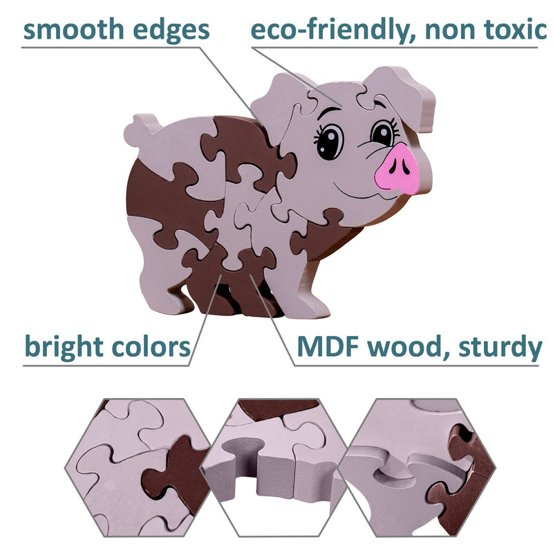 veZve Wooden Jigsaw Puzzle for Toddlers Kids 3 to 5 Years Old Boys Girls Toy, Pig