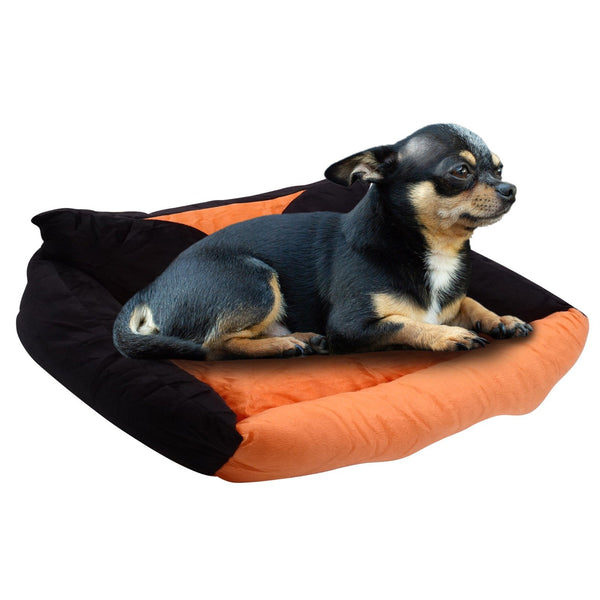 Warming Dog Sleeping Bed Orange Rectangle Washable Reversible Memory Foam Medium Firmness Skin Contact Safe