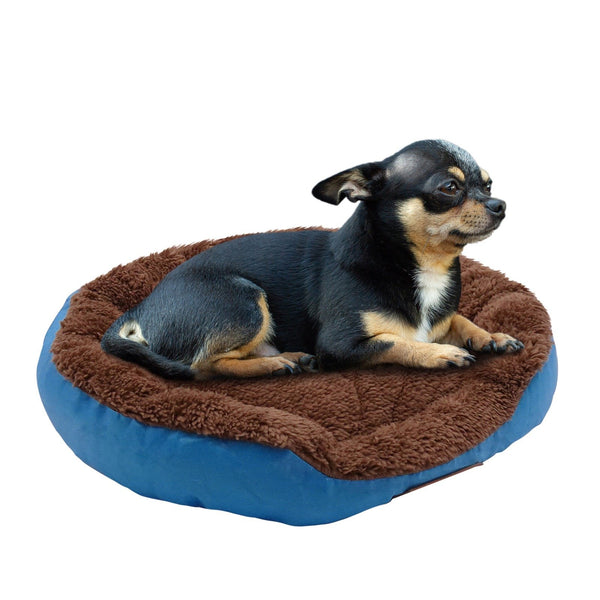 Warming Dog Sleeping Round Bed With Skin Contact Safe Indoor Memory Foam Washable