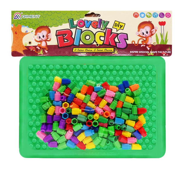veZve Barrel Nails Pegboard Educational Jigsaw Puzzle Mix Colour Creative DIY Mosaic Toys For Kids Children Age Over 3 Years Old Green