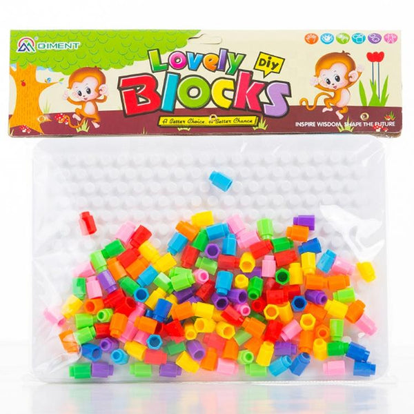 veZve Barrel Nails Pegboard Educational Jigsaw Puzzle Mix Colour Creative DIY Mosaic Toys For Kids Children Age Over 3 Years Old White