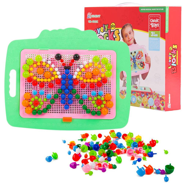 veZve Mushroom Nails Pegboard Educational Jigsaw Puzzle Mix Colour Creative DIY Mosaic Toys For Kids Children Age Over 3 Years Old Butterfly Box