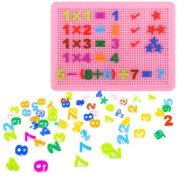 veZve Numbers 0 to 9 Pegboard Puzzle Nails Plus Minus Multiply Division Symbols Educational Mixed Colour Toy Gift For Children Ages 3 Years And Up Boys And Girls Green