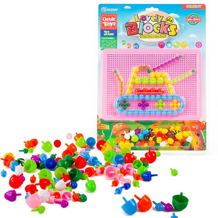 veZve Pegboard Jigsaw Puzzle Mushroom Nails Creative Educational Puzzles Mix Colour Crafts Pegboard Toy Gift For Children Ages 3 Years And Up Tank