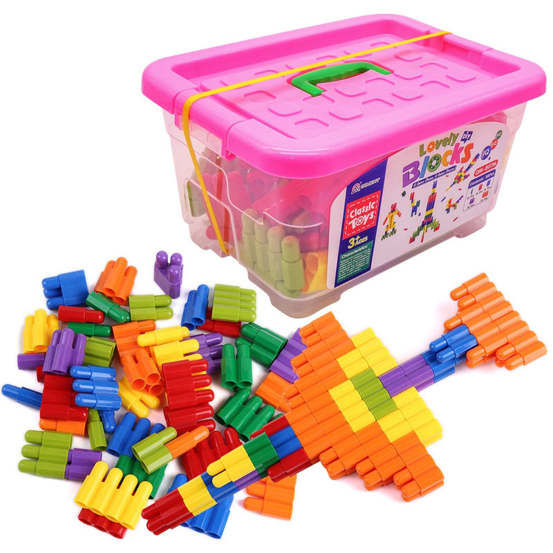 veZve Building Blocks Set Bullet Shape 86 Pcs Learning Play Construction Creative Educational Puzzle Toys In Storage Box For Kids 3+ Ages Green